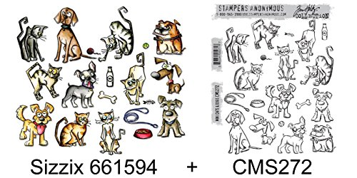 Crazy Cat Dog (Bundle MINI CRAZY CATS & DOGS Sizzix Framelits Die Set 661594 + Stampers Anonymous Stamps CMS272)