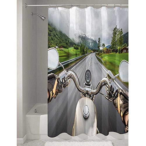 DouglasHill Man Cave Decor Affordable Polyester Shower Curtain Biker Rides Motorcycle Highway Lifestyle Speed Adventure Foggy Rural Area Easy to Maintain and Durable W94 x L72 Inch Multicolor (Best Affordable Adventure Motorcycle)