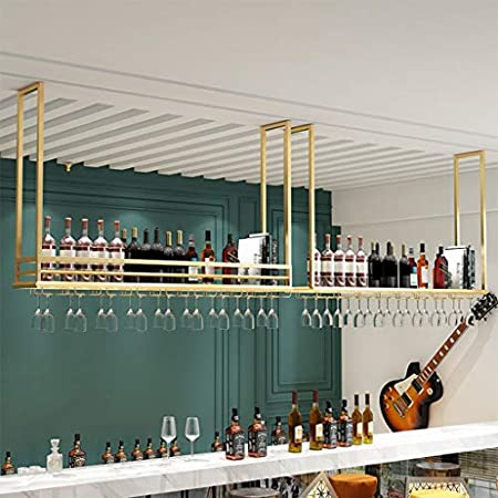 Botelleros Estante de Vino de Metal montado en la Pared, Estante de Copa de Vino Colgante y Soporte de Botella de Vino, estantes de Almacenamiento de vajilla, para Bar/Cocina/gabinete, Dorado