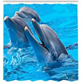 Barnyard Sea Animal Dolphins Shower Curtains 100% Polyester Waterproof  Shower Accessories 66B72 Inch