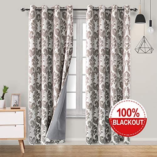 Hiasan Faux Linen 100 Jacquard Blackout Curtains with Thermal Back Coating Noise Reducing Damask Thick Room Darkening Curtains for Bedroom and Nursery, 52 x 84 Inches, Coffee, 2 Drape Panels