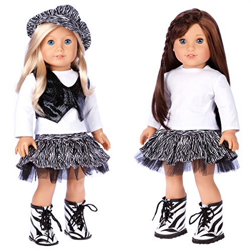 DreamWorld Collections - Fashionista - 5 Piece Outfit - Blouse, Vest, Hat, Skirt and Boots. Clothes Fits 18 Inch American Girl Doll  (Doll Not Included)