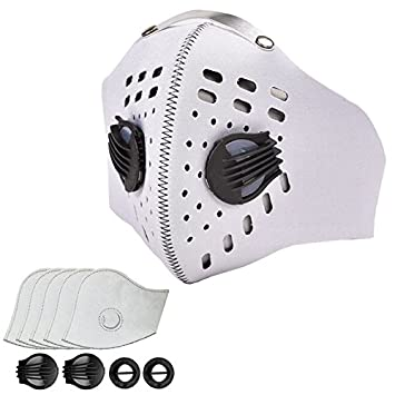 Shenggetu Pollution Mask Dust Mask Activated Carbon Dustproof with 5 Extra Activated Carbon Filters and 2 Valves for Exhaust Gas, Pollen Allergy, PM2.5, Running, Cycling, Outdoor Activities Black one Size
