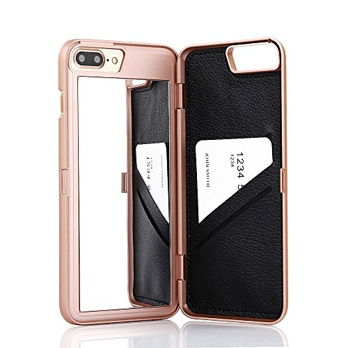 iPhone 7 Plus Case, iPhone 8 Plus Case,Wetben Hidden Back Mirror Wallet Case with Stand Feature and Card Holder for Apple iPhone 8 Plus (2017) / iPhone 7 Plus (2016) 5.5 inch (Rose Gold)