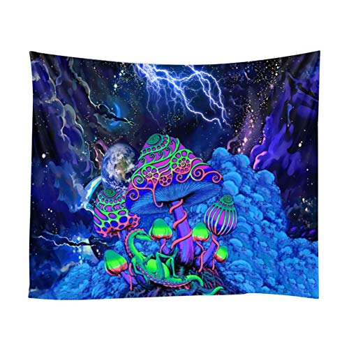 2021 New Tapestry, 3D Print Forest Mushroom Tapestry, Europe Divination Village Tapestry Psychedelic Tapestry, Hippie Tapestry Wall Decor for Bedroom Living Room