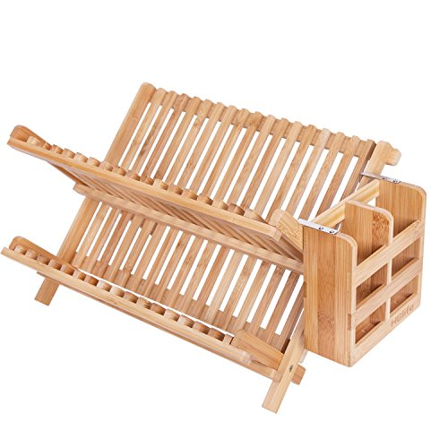 Dish Rack,HBlife Bamboo Folding 2-Tier Collapsible Drainer D