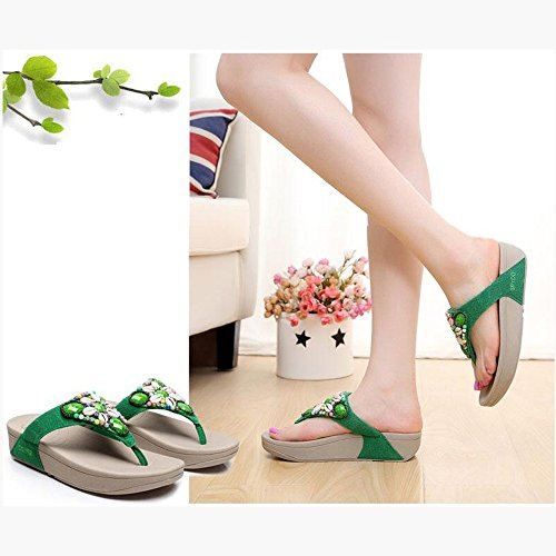 CHANCLAS SANDALS Zapatillas de mujer Flip-Flops Verano Caucho Casual Plataforma Talón Azul Verde Rosa elegante ( Color : Verde , Tamaño : EU37/UK4-4.5/CN37 ) Verde