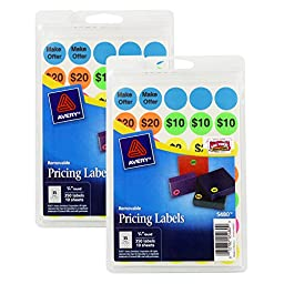 Avery Preprinted Removable Garage Sale Pricing Labels, 3/4, Round, Pack of 700