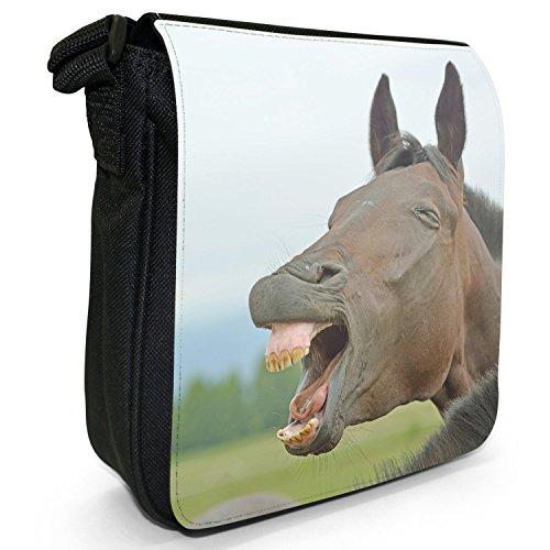Elegant Black Small Horses Laughing Beautiful Bag Shoulder Horse Brown Canvas Size 7IBwqd