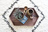 Long Wooden Hexagon Tray - Walnut Wood Centerpiece Rustic Modern Decor Table Vanity Handmade Geometric