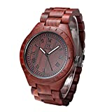Uwood Luxury Brand Red Sandal Wooden Mens Quartz Watches Fashion Natural Wood Watch