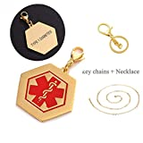 LiFashion LF 316L Stainless Steel IP Gold Plated Sos TYPE 1 DIABETES Medical Alert Hexagon ID Tag Key Ring Keychain Charm Pendant Necklace for Men Women Teens Health Alert Monitoring Systems