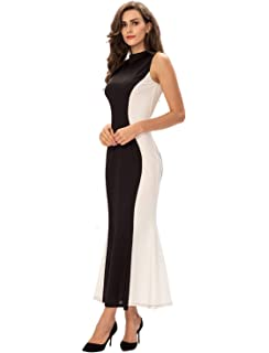 985f44de5d Noctflos Womens Mock Neck Illusion Fitted Bodycon Evening Gown Long  Cocktail Dress Black