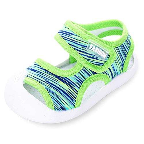 Boys Girls Athletic Sports Sandals Open-Toe Breathable Rubber Sole Beach Water Shoes for Toddler (3.5 M US Toddler, Green) -