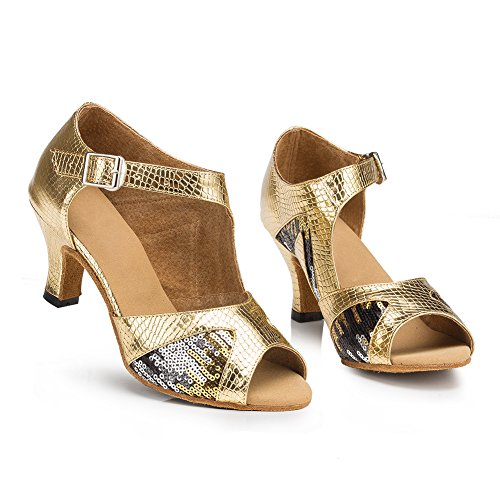 Misu Women's Peep toe Sandals Latin Salsa Tango Practice Ballroom Dance Shoes with 2.3