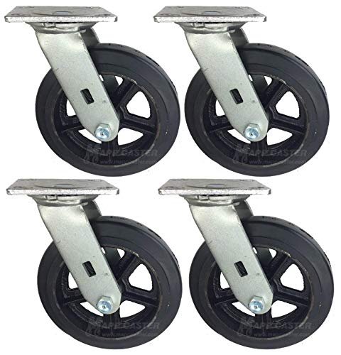 Mapp Caster Drywall Dolly Replacement Rubber Wheel Casters - 2,400 Lbs Capacity