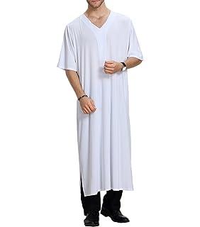 Qianliniuinc Vêtements décontractés pour Hommes islamiques Abaya Robe  Musulman à Manches Courtes Chemise lâche S- cbeff49b32f