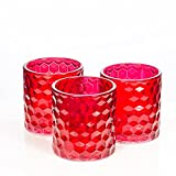 Richland Red Chunky Honeycomb Glass Votive & Tealight Candle Holder Set of 24