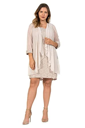 9edb63d8951 R M Richards Short Mother of The Bride Plus Size Dress - Champagne - 14W at Amazon  Women s Clothing store