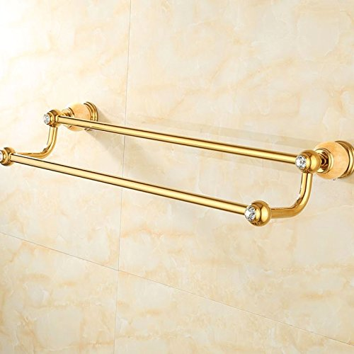 Znzbzt punch double towel rack Bathroom Wall in dual-copper gold natural jade American single rod towel rod, and luxury of Wong Yuk by Znzbzt (Image #1)