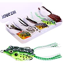 YONGZHI Fishing Lures Topwater Floating Weedless Lure Frog Baits with Double Sharp Hooks Soft Bait for Bass Snakehead Salmon Freshwater Saltwater Fishing (Mix Style)
