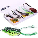 YONGZHI Fishing Lures Topwater Floating Weedless Lure Frog Baits with Double Sharp Hooks Soft Bait for Bass Snakehead Salmon Freshwater Saltwater Fishing (Mix Style)-A