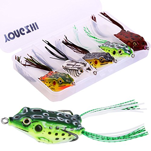 YONGZHI Fishing Lures Topwater Floating Weedless Lure Frog Baits with Double Sharp Hooks Soft Bait for Bass Snakehead Salmon Freshwater Saltwater Fishing (Mix Style)-A (Best Soft Bait For Bass)