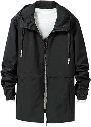 Pervobs Mens Autumn Winter Hooded Down Jacket Packwork Zipper Pocket Jacket Coat Parka Overcoat Mens Coat