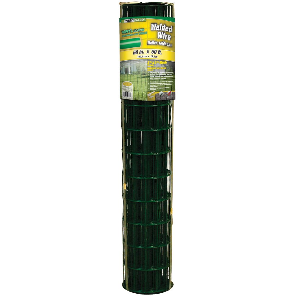 YARDGARD 308354B 2 Inch by 3 Inch Mesh, 60 Inch by 50 Foot 16 Gauge PVC Coated Welded Wire Fence