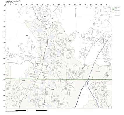 Land O Lakes Florida Map.Amazon Com Zip Code Wall Map Of Land O Lakes Fl Zip Code Map Not