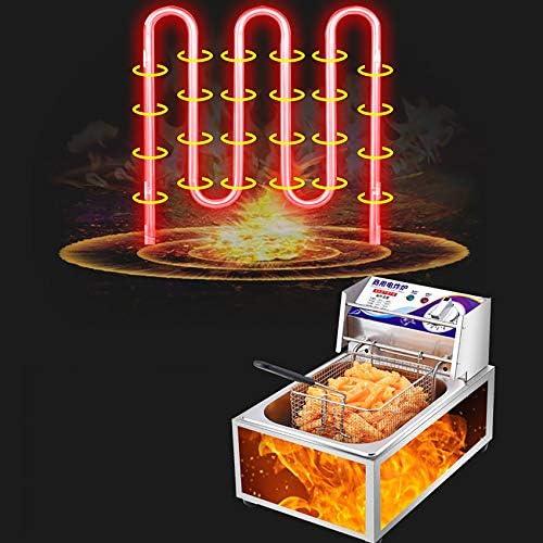 FCXBQ Friteuse, friteuse électrique Commerciale, friteuse de Bureau, 10L, 2500w / 220v, Panier d'huile Amovible, température réglable, Convient à la Cuisson des Aliments