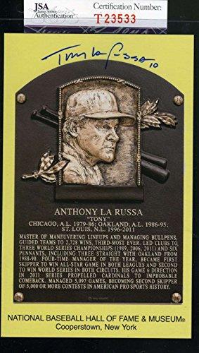 TONY LARUSSA JSA COA Autograph Gold HOF Plaque Hand Signed Authentic