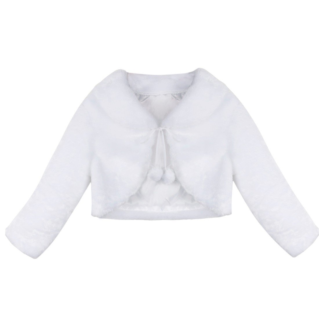 Freebily Girls Faux Fur Long Sleeve Princess Coat Wedding Bridesmaid Birthday Party White Jacket White 7-8