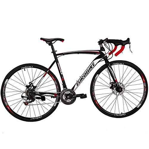 Eurobike Road Bike 700C Wheels 21 Speed Disc Brake Bicycle 54cm/Medium Frame Size (Aluminium Rims 01)