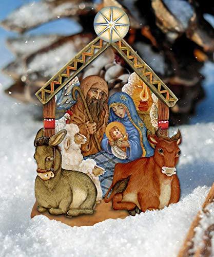 Outdoor Nativity Scene, Nativity Wooden Decorative Hanging/Freestanding Figurine - Large Nativity Ornament - Holy Family Yard Decor ()