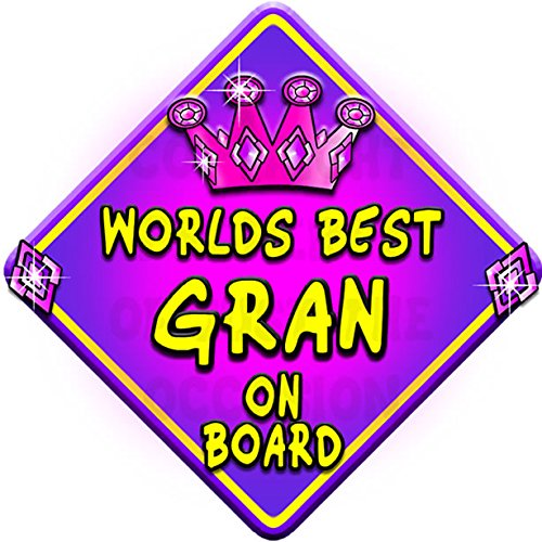 Non personalised WORLDS BEST GRAN JEWEL novelty baby on board car window sign.