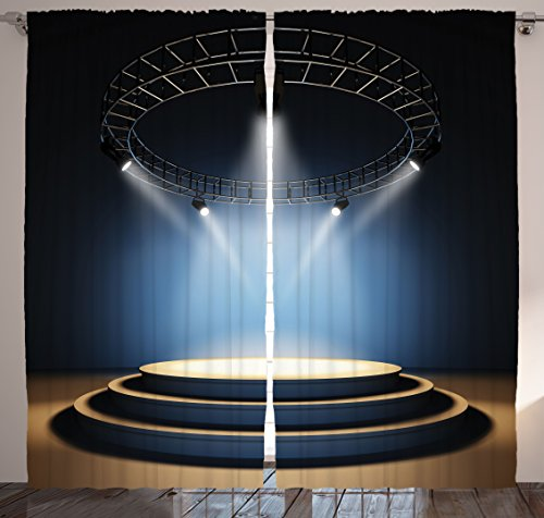 Home Decor Concert Theatre Pub Stage Disco Balls Black Drapes Curtains for Dining Room Bedroom Living Teenage Room for Modern Family Art Pictures Two Panels Set 108 X 84 Inches (Teenage Disco Clothes)