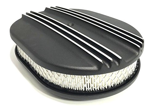 RandWSpeedShop 12 x 2 Oval Partial Finned Black Aluminum Air Cleaner Assembly -