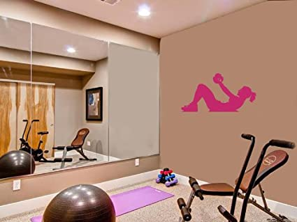 Housewares vinyl decal girl with dumbbells for gym home wall art
