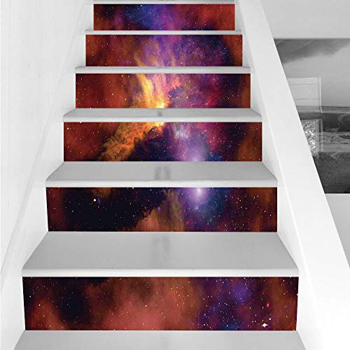 Stair Stickers Wall Stickers,6 PCS Self-adhesive,Space Decorations,Space Stars and Nebula Gas and Dust Cloud Celestial Solar Galacy System Print,Purple Red Orange,Stair Riser Decal for Living Room, Ha by iPrint