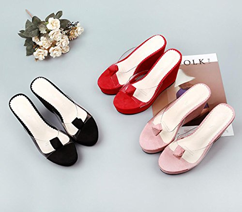 Mujeres cuña Simples caseros cristalino Rosado Zapatos de Señoras Transparente Tacones DANDANJIE Rojo Cristal Negro Rosa Las Zapatillas Sandalias gAqxCE