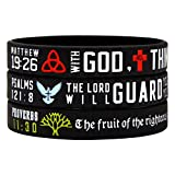 SAINSTONE Power of Faith Christian Bible Verse Silicone Bracelets - Religious Rubber Wristbands with Christian Symbols (The Trinity, Cross, Dove, Tree of Life) and Scriptures Holiday Gifts (Unisex)