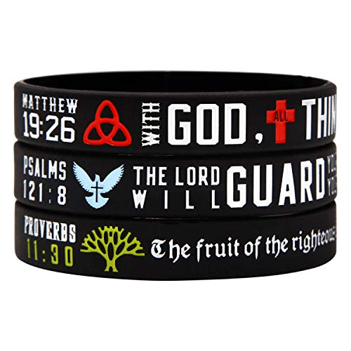 SAINSTONE Power of Faith Christian Bible Verse Silicone Bracelets - Religious Rubber Wristbands with Christian Symbols (The Trinity, Cross, Dove, Tree of Life) and Scriptures Holiday Gifts (Unisex) by SAINSTONE