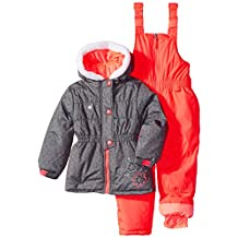 Rugged Bear girls Girls' Two-piece Snowsuit and Jacket Set With Flower Detail