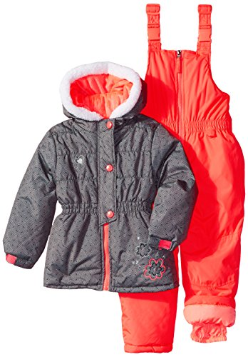 Rugged Bear Little Girls' Snowsuit with Flower Detail, Eb...