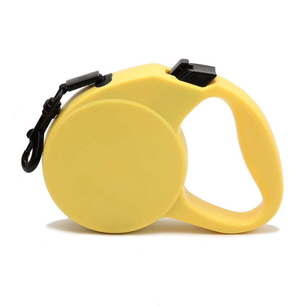 Pet Leash for Small Medium Dogs Retractable One Button Break Lock Hands Free Strong Ribbon Yellow Traction Rope Training Walking Running 5M