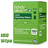 Premoistened Lens and Glass Cleaning Wipes: Portable Travel Cleaner for Glasses, Camera, Cell Phone, Smartphone, and Tablet - Quick Drying, Streak Free, Disposable - Individually Wrapped - 100 Pack