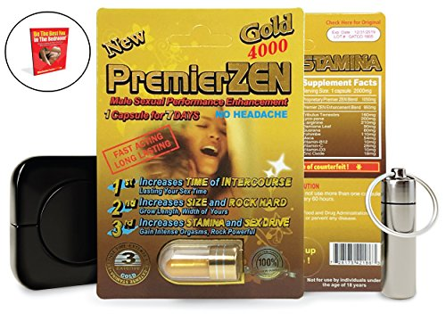 PremierZEN Gold 4000 Sexual Enhancement Pills for Men (5), Male Enhancing Pills Erection - Increase Size, Time, Stamina, Enlargement Bundle w/Pill Keychain, Condom Case, Booklet (8 Items) by PremierZEN