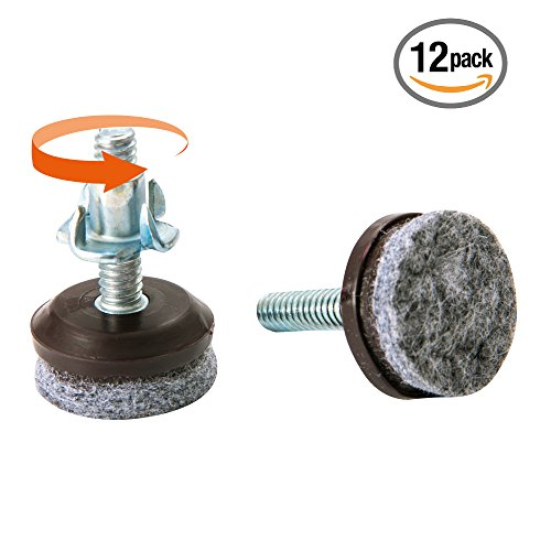Furniture Levelers | Heavy Duty & Integrated High-Density Felt | Fully Threaded Adjustable Height 0.5