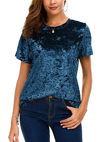 (Women's Crew Neck Velvet Top Short Sleeve T-Shirt (S, Blue) )